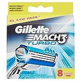 Gillette Mach3cuchillas de Turbo para afeitadora, 8piezas