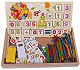 HorBous Multi Math Éducation Jouets Bois Horloge Jeu Jouets Preschool Enseignement Outil pour Math, Jouets mathématiques en bois, Puzzles mathématiques en bois