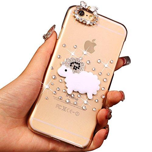 iPhone 6 Plus 6S Plus 5.5 Zoll Durchsichtig Strass Zurück Rückseite [CornerGuard ShockProof   Stark Griff], 3D Glitzer Harte Dünn Bling Kristall Hülle, Sunroyal Transparent PC Hart Dünn Bling Slim Lin Pattern 05