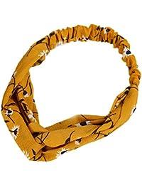 Demarkt 1 Pcs Femme Bandeau Cheveux Nœud d'oreille Arcs Fleurs Band Tissu Headband Elastique Extensible Humidité Hairband Pour Accessoire Maquillage Sport Jogging Yoga (Jaune)