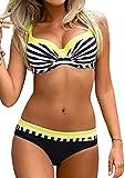 AHOOME Damen Bikini Push Up Gepolstert Streifen rayures Triangel Brasilianische Bademode Bikini-Sets(Gelb,XXL)
