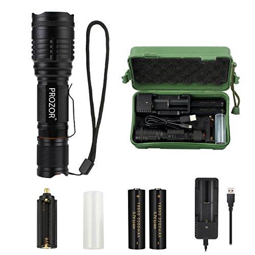 CREE LED Taschenlampe 10W 900 LM Handheld super helle LED Taschenlampe einstellbare Fokus Taschenlampe mit Batterie Ladegerät und wiederaufladbare Batterie wasserdichte Taschenlampe mit 7 Modus