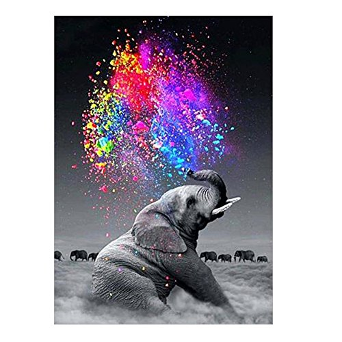 5D Diamond Painting Art Kit and Pictures, DIY Handmake Rhinestone Embroidery Kit Animal Mosaic Paintings Cross Stitch for Home Decoration Elephant