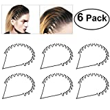 Tinksky 6pcs Unisex Black Spring Wave Metal Hoop Hair Band Girl Men Sport Head Band Accessory