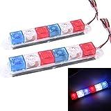 2PCS 3W 6 LED Vehicle Flashing Warning Strobe Light,DC 12V , Red Light + Blue Light + White Light, Wire Length: 45cm