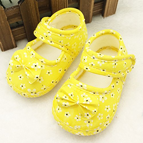 Zhhlinyuan Infant Cute Bowknot Princess Shoes Antiskid Soft Baby Shoes xsx005 Yellow