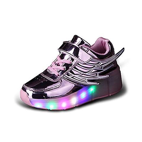 Luckly Grace Unisexe Enfant Chaussures de Skateboard Clignotantes avec 7 Couleurs LED Colorés Baskets Sport à Roulettes Sneakers Style d'ailes d'ange de Garçon et Fille (28 EU, Rose)