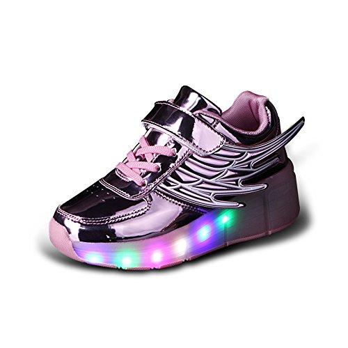Aizeroth-uk unisex bambino led scarpe con rotelle automatiche skateboard formatori outdoor multisport ginnastica lampeggiante sneakers con ali d'angelo per ragazze e ragazzi (34 eu, k02rosa)