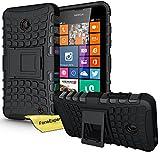Nokia Lumia 630 635 Handy Tasche, FoneExpert® Hülle Abdeckung Cover schutzhülle Tough Strong Rugged Shock Proof Heavy Duty Case für Nokia Lumia 630 635 + Displayschutzfolie (Schwarz)