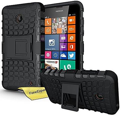 FoneExpert® Nokia Lumia 630 635 - Etui Housse Coque ShockProof Robuste Impact Armure Hybride Béquille Cover pour Nokia Lumia 630 635 + Film de Protection d'Ecran (Noir)