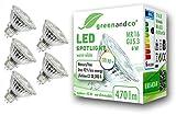 5x greenandco® CRI90+3000K 36° LED Spot ersetzt 45 Watt GU5.3 MR16 Halogenstrahler, 6W 470 Lumen warmweiß SMD LED Strahler 12V AC/DC Glas mit Schutzglas, nicht dimmbar, 2 Jahre Garantie