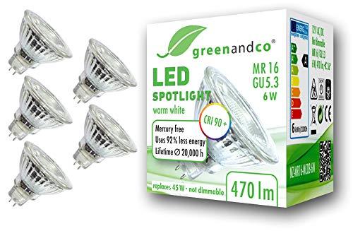 5x greenandco® CRI90+ LED Spot ersetzt 45 Watt GU5.3 MR16 Halogenstrahler, 6W 470 Lumen 3000K warmweiß SMD LED Strahler 36° 12V AC/DC Glas mit Schutzglas, nicht dimmbar, 2 Jahre Garantie -