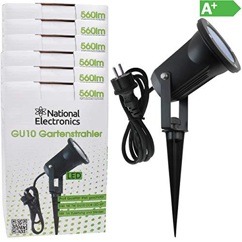 National Electronics Gartenstrahler LED mit Erdspieß GU10 inkl. 7W COB LED Aussenstrahler LED Gartenleuchte Gartenlampen Set Ambientebeleuchtung Strahler außen Garten Gartenbeleuchtung IP65 6er Set