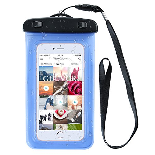 Funda Impermeable, Funda Totalmente sellada a Prueba de Agua, Nieve, Suciedad. Universal Bolsa estanca con Brazalete para iPhone X/8/8 Plus/7/7 Plus/Galaxy/Google Pixel/LG/HTC (Azul)
