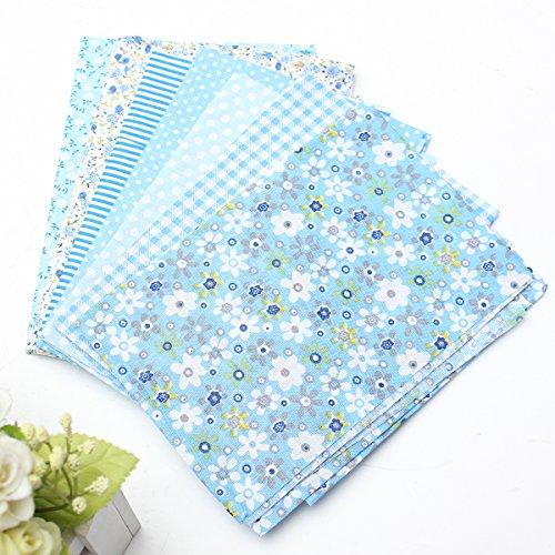 Blau Baumwolle Stoff (7 Stück Baumwollstoff Stoffpakete Patchwork Stoffe Baumwolle Stoffreste Himmel Blau 50x50cm)