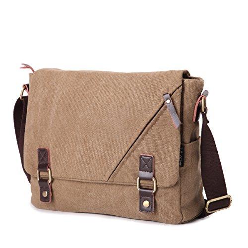 Eshow borsa a tracolla da uomo di tela messenger stile retro'per l'uso quotidiano della scuola outdoor Trekking cachi