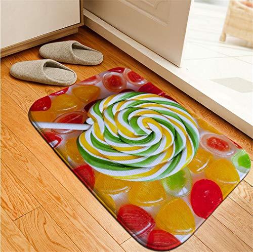 Deyimr Fußmatte Bunte Süßigkeiten Schokolade Flanell Bedruckte Matte Küche Schlafzimmer Rutschfeste Dooamat Carprt, D, 50 × 80 cm