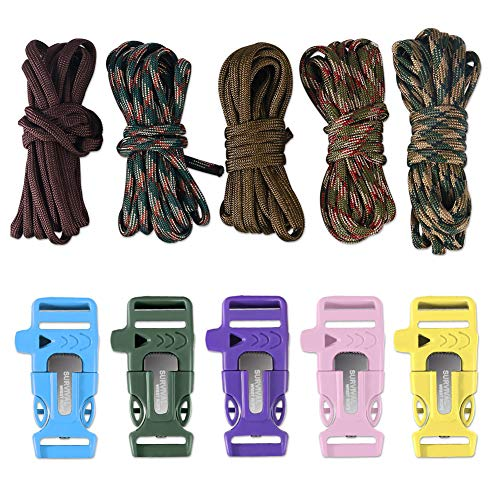 Dealikee 5 set DIY make your own braccialetto di paracord, Flint Fire starter/coltello/fischio fibbia & Rescue 400 Paracord bracciale da escursionismo campeggio zaino Parts, Camo