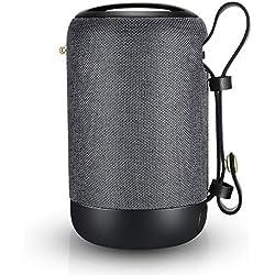 Enceinte Bluetooth Portable, 20W Haut-Parleur Bluetooth sans Fil avec autonomie de 12 Heures, Pilote Double, Basses Puissantes, Mains Libres Téléphone, Carte TF Support, Microphone et Chargement USB
