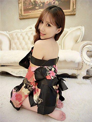 SQDQNUR-donna sexy lingerie estrema lures Giapponese di stile kimono plus size sexy lingerie tuta uniforme,Nero
