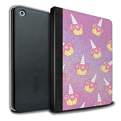 STUFF4 PU-Leder Hülle/Case/Brieftasche für Apple iPad 9.7 (2017) tablet / Rosa Cupcake/Kuchen Muster / Einhorn/Unicorn Kollektion