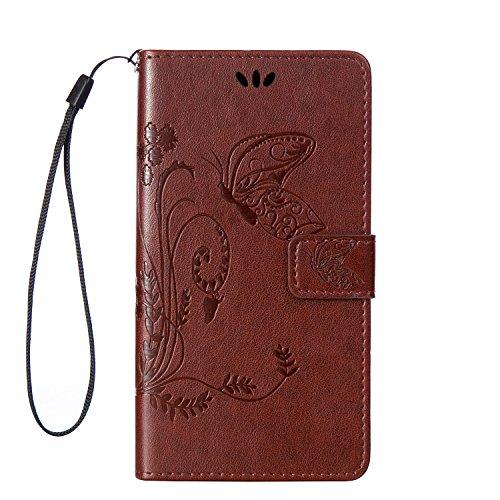 Lumia 640 XL Hülle, Anlike Schutzhülle Microsoft Lumia 640 XL /Nokia Lumia 640 XL (5,0 Zoll) Wallet Tasche [Butterfly geprägte Serie] Handyhülle für Braun