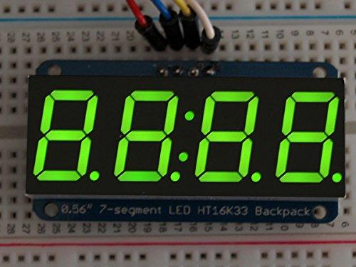 Adafruit 0.56 4-Digit 7-Segment Display w/I2C Backpack - Green