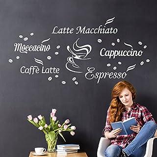 Wandora Wandtattoo Kaffeesorten I weiß I Küche Esszimmer Latte Macchiato Cappuccino Espresso Sticker Aufkleber Wandaufkleber Wandsticker W1400