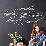 Wandora W1400 Wandtattoo Latte Macchiato Moccacino Cappuccino Espresso Caffe Latte braun