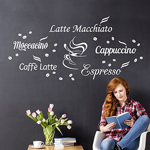Wandora Wandtattoo Kaffeesorten I dunkelgrau I Küche Esszimmer Latte Macchiato Cappuccino Espresso...