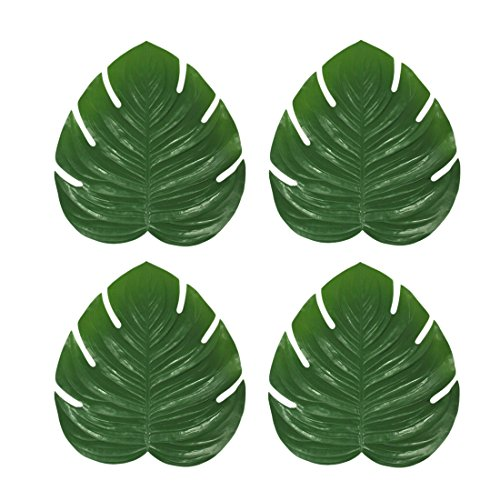 a8810-gr grün künstliche Tropical Fensterblätter Blatt, 4Stück Tisch-Sets Set 44,5x 41,9x 0,3cm grün (Hochzeit Tablescapes)