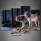 Dos Lobo Estar En Río Banco BosquePintura de la Pintura de la Pared La impresión de la Imagen en la Lona Animal Fotos de la Obra para la Decoración Moderna del Ministerio del Interior