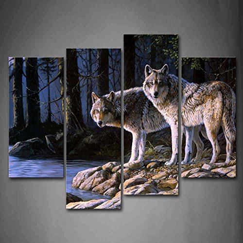 Two Wolf Stand On River Bank Forest Wall Art Painting Wolves Pictures Print On Canvas Animal The Picture for Home Modern Decoration Bild Stand