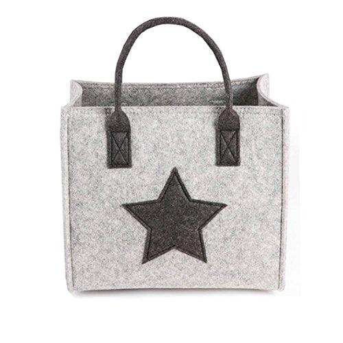 JameStyle26 Stern Filz Tasche Shopper Geschenkbox Einkaufskorb Star Damen Bag Fashion Henkeltasche Schultertasche Filztasche (Größe S (30x26x19 cm))