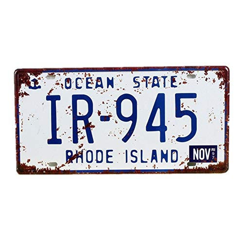 PotteLove Metal Signs, Rhode Island Vintage Garage Car Number License Plate Metal Tin Signs Wall Art Painting Truck Iron Craft Home Bar Pub Decor (Cave Girl Island)