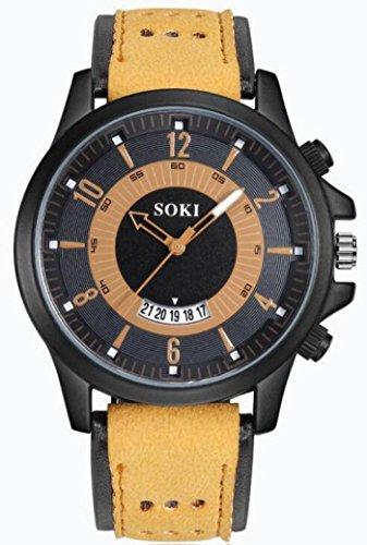 cinnamou Herrenuhren - Herren Analoge Quartz Uhren mit Silikagel Lederband – Mode Armbanduhr mit Datum Kalender, Männer klassische Casual Sports Uhren für Herren (Kaffee)