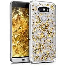 kwmobile Étui transparent en TPU silicone pour LG G5 / G5 SE en doré transparent Design flocons