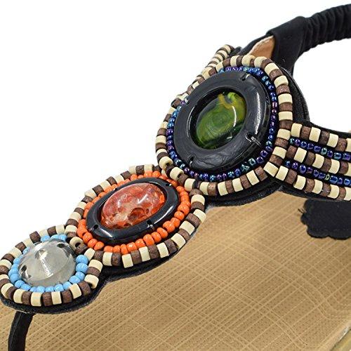 Oasap Femme Sandales T-strap Faux Diamant Cordon De Serrage Noir