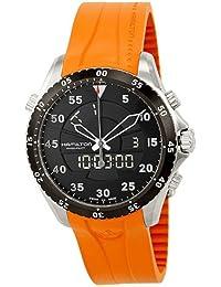 Hamilton Men's Flight Timer 40mm Orange Rubber Band Steel Case Quartz Black Dial Analog Watch H64554431