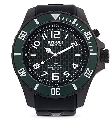 KYBOE! Black Moss - Reloj de cuarzo para hombre, 55 mm, acero inoxidable y silicona