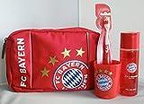FC Bayern Geschenkset rot 4tlg. (Kulturbeutel+Duschgel+Zahnbürste+Zahnputzbecher)