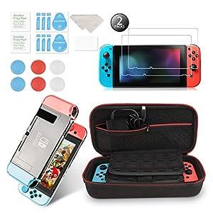 Younikoo Zubehör-Kit für Nintendo Switch Inklusive Tragetasche / Schalter Klarsichthülle / Thumb Stick Caps / Hartglas…