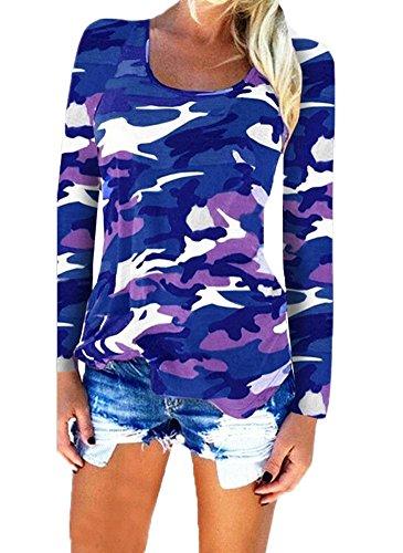Pattrily Frauen Sexy Bluse Shirts Aushöhlen Tops Dünn Langarm Camouflage Übergroßen Damen Tief V Plus Größe Krawatte Farbe S-XXL Blau1