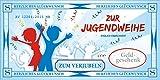 Riesen Jugendweihe Geldgeschenk Gutscheine Kuvert Relief-Effekt Zur Judendweihe endlich erwachsen 15x30cm