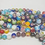 bigigloo Millefiori Lampen-Glasperlen, Strang Perlen mit 1mm großen Loch, 10mm, 8mm, 6mm, 8mm-45 Beads