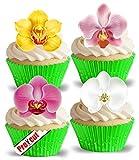 vorgeschnittenen Schöne Orchideen essbarem Reispapier/Waffel Papier Cupcake Kuchen Dessert gemischt Farbe Flower Topper Birthday Spring Summer Party Hochzeit Baby Dusche Muttertag Ostern Dekorationen