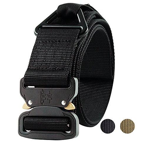 ger Belt, Militär-Stil Gurtband Riggers Nylon Web Belt mit widerstandsfähigen schnellverschlussbetätigung Metall Schnalle und Dreieckig D-Ring, Schwarz , 4.3*115 (60 Web-gürtel)