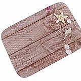 WANG-shunlida Holz Drucken Teppich zurück zu Alten Wohnzimmer Study Wasser absorbierenden Rutschfeste Badezimmertür Mat 185 G, 40 X 60 cm, Seesterne oder Matten