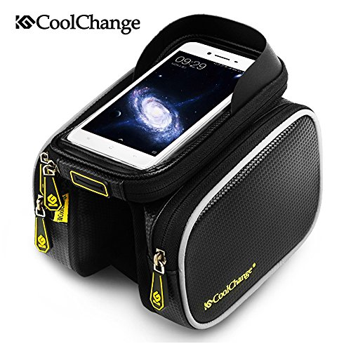 Cycling Bicycle Bike Frame Pannier Saddle Front Tube Bag Double Pouch Bag Holder, with 6.0/6.2 Inch Touch Screen Case (Schwarz, 6.0 inch) -
