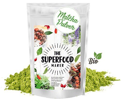 100% Bio Matcha Pulver (Einführungspreis) 100 g Bio Grüntee-Pulver für Matcha-Latte, Matcha-Smoothies, Matcha-Getränk von The Superfood Maker